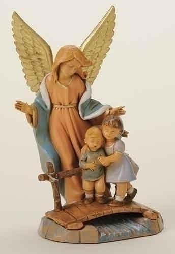 "Fontanini Guardian Angel With Kids On Bridge Fontanini 5"" - Nativity Village Collectible 65526 at Sears.com"