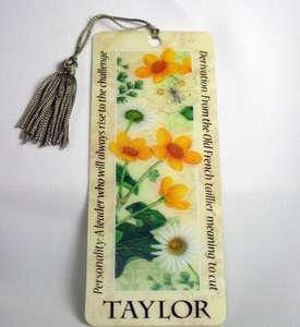 History & Heraldry Taylor  - Bookmark Reading Personalized Placemarker 001890431-HH at Sears.com