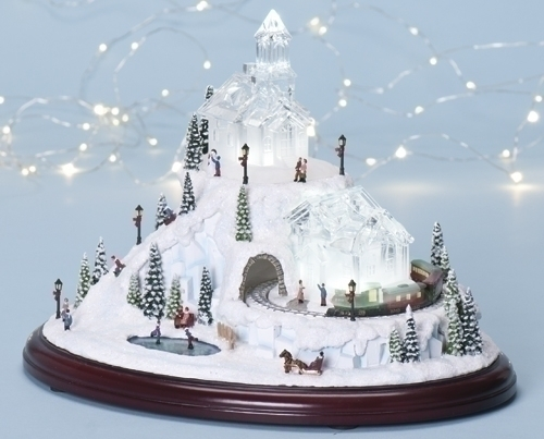 "Musical Amusements 8"" LED Village With Revolving Train * Musical Christmas Roman Inc. at Sears.com"